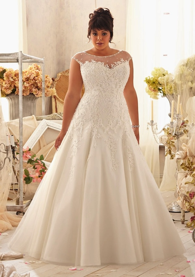An A-line plus size wedding dress