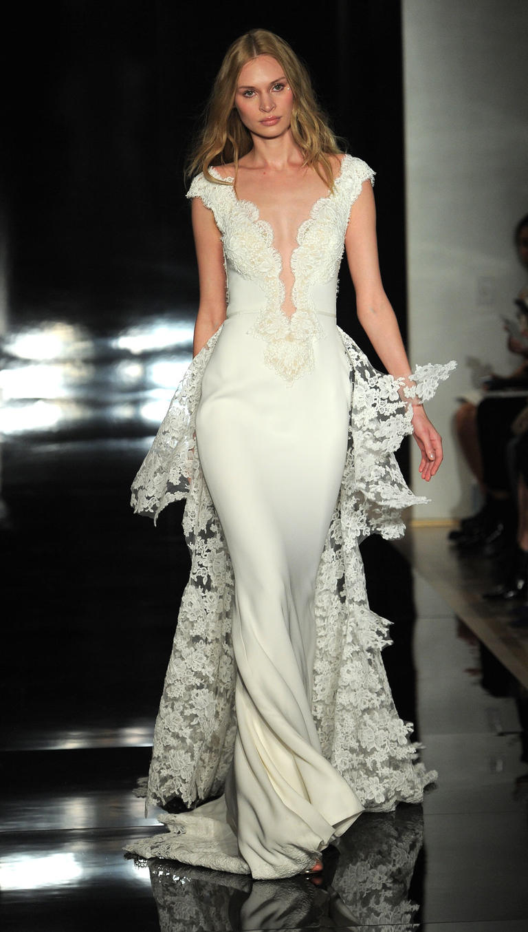 A wedding dress with deep decollete