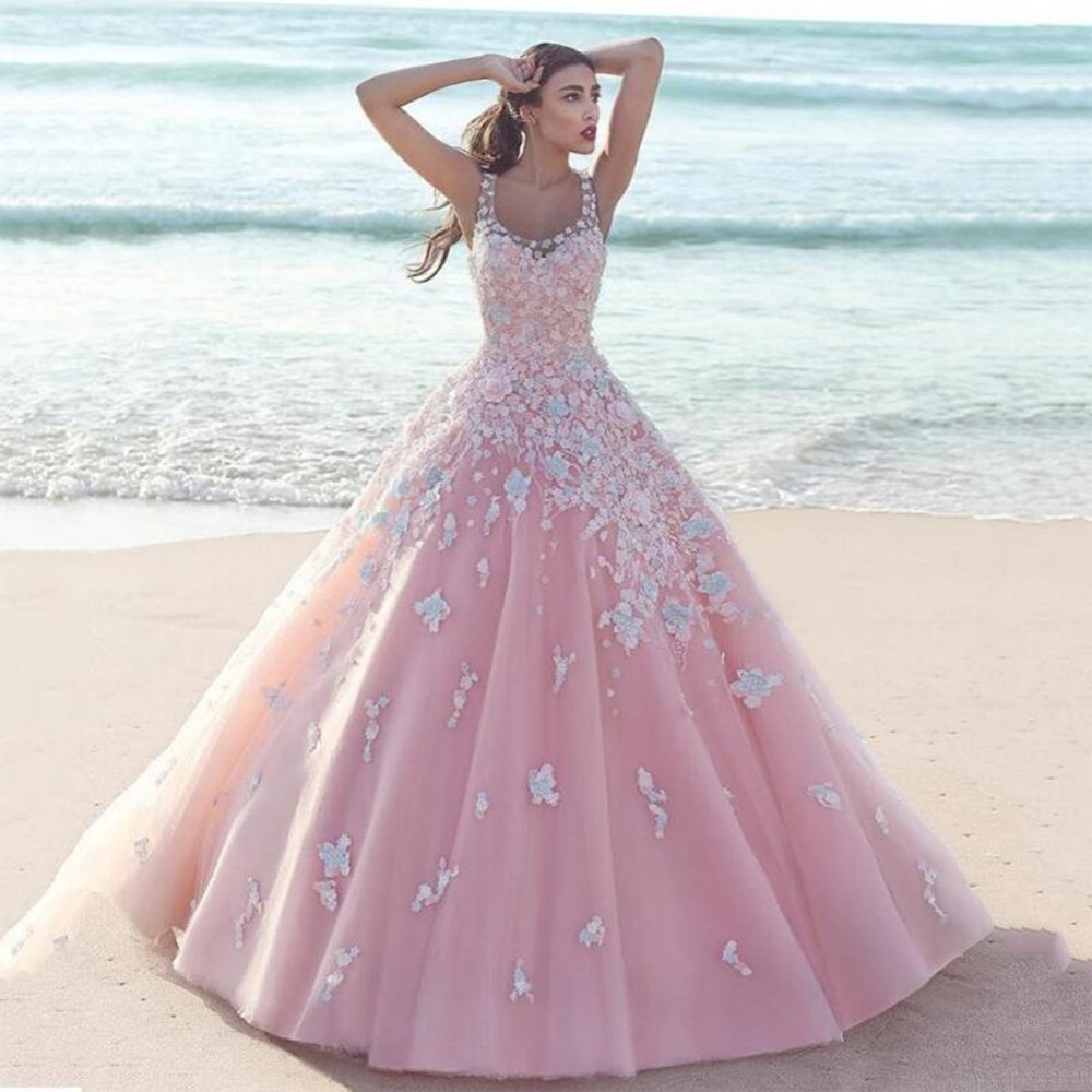 A pink wedding gown