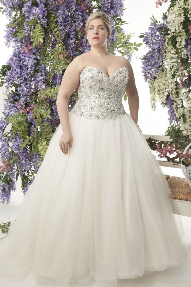 A plus size ball gown wedding dress