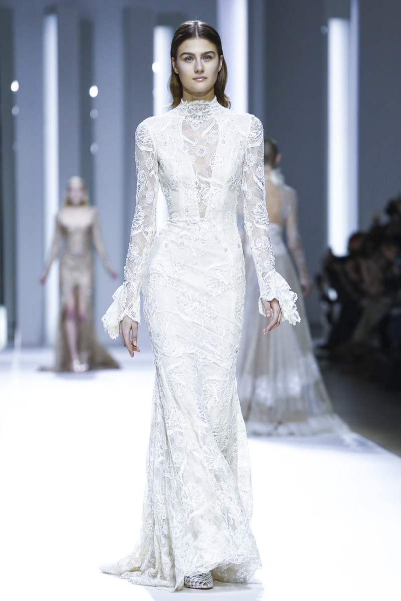 A wedding dress with high collar