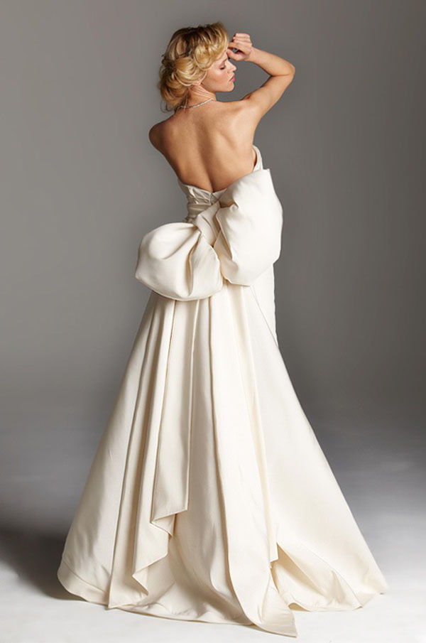 A wedding dress with huge bow