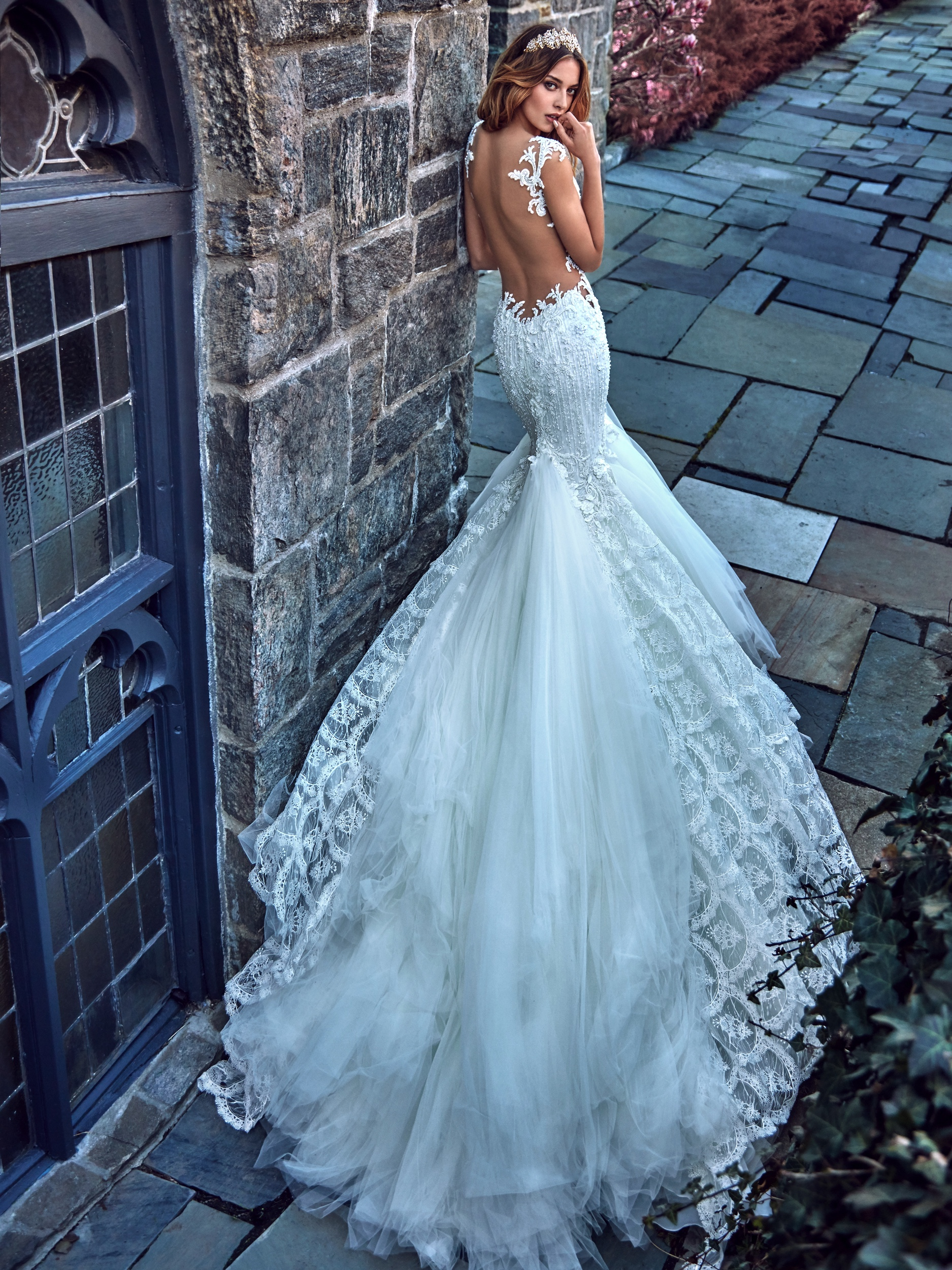 A wedding dress with luxurious train