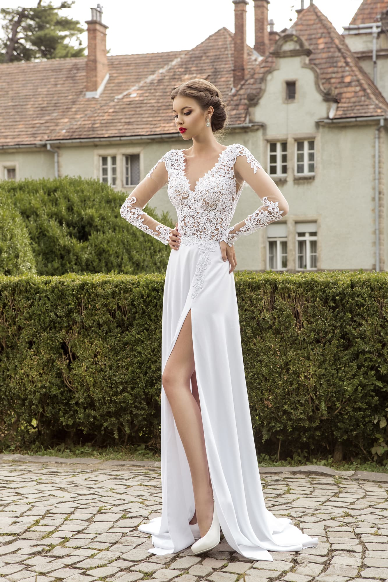A wedding dress with open leg