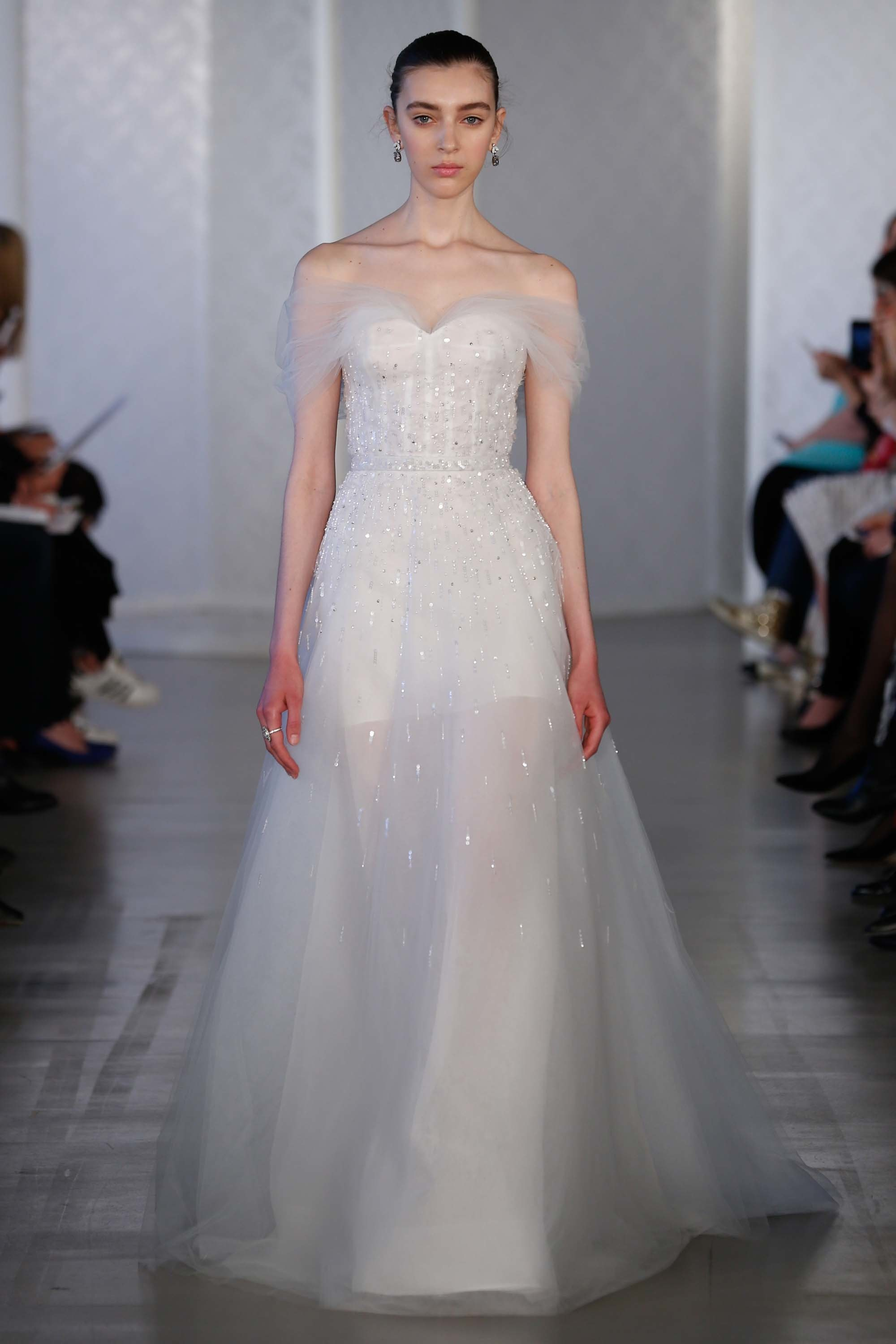 A wedding dress with open shoulders