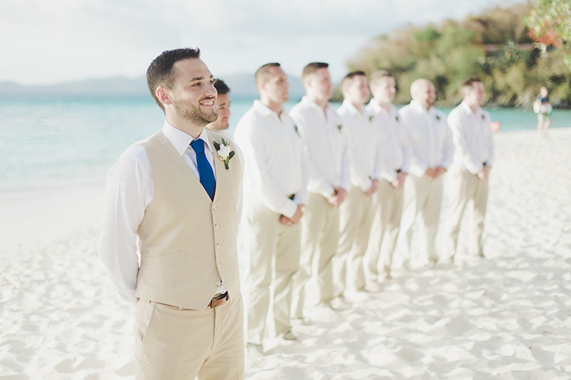 A beach wedding groom suit