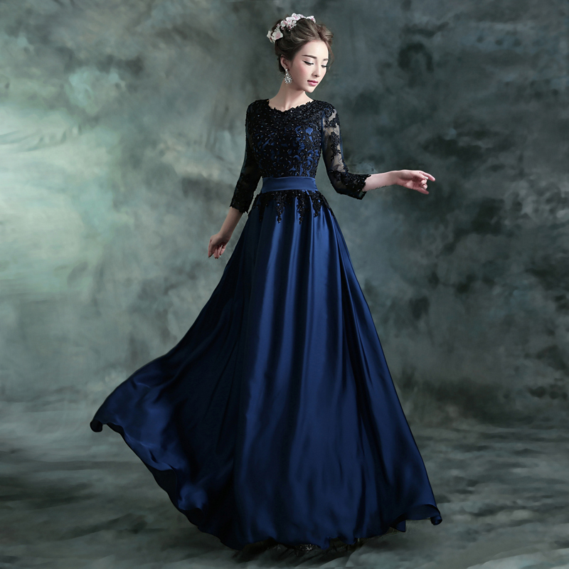 A Blue And Black Wedding Gown