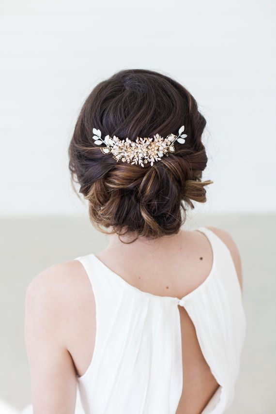 A bridal hair headpiece with crystals