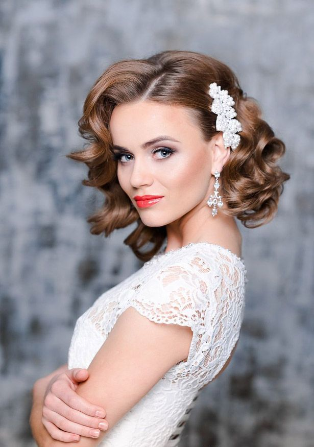 A bridal hairstyle for short hair