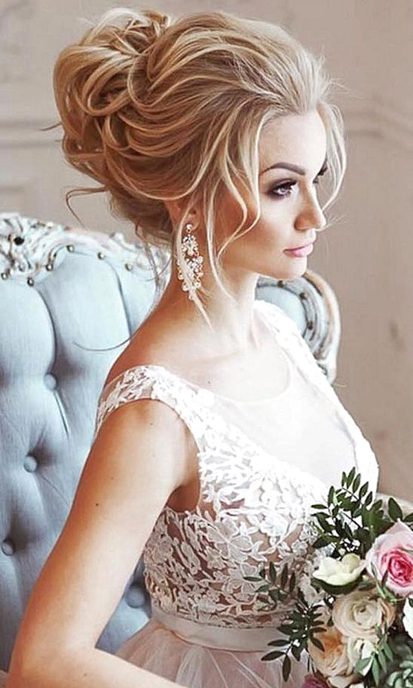 A bridal updo with chignon