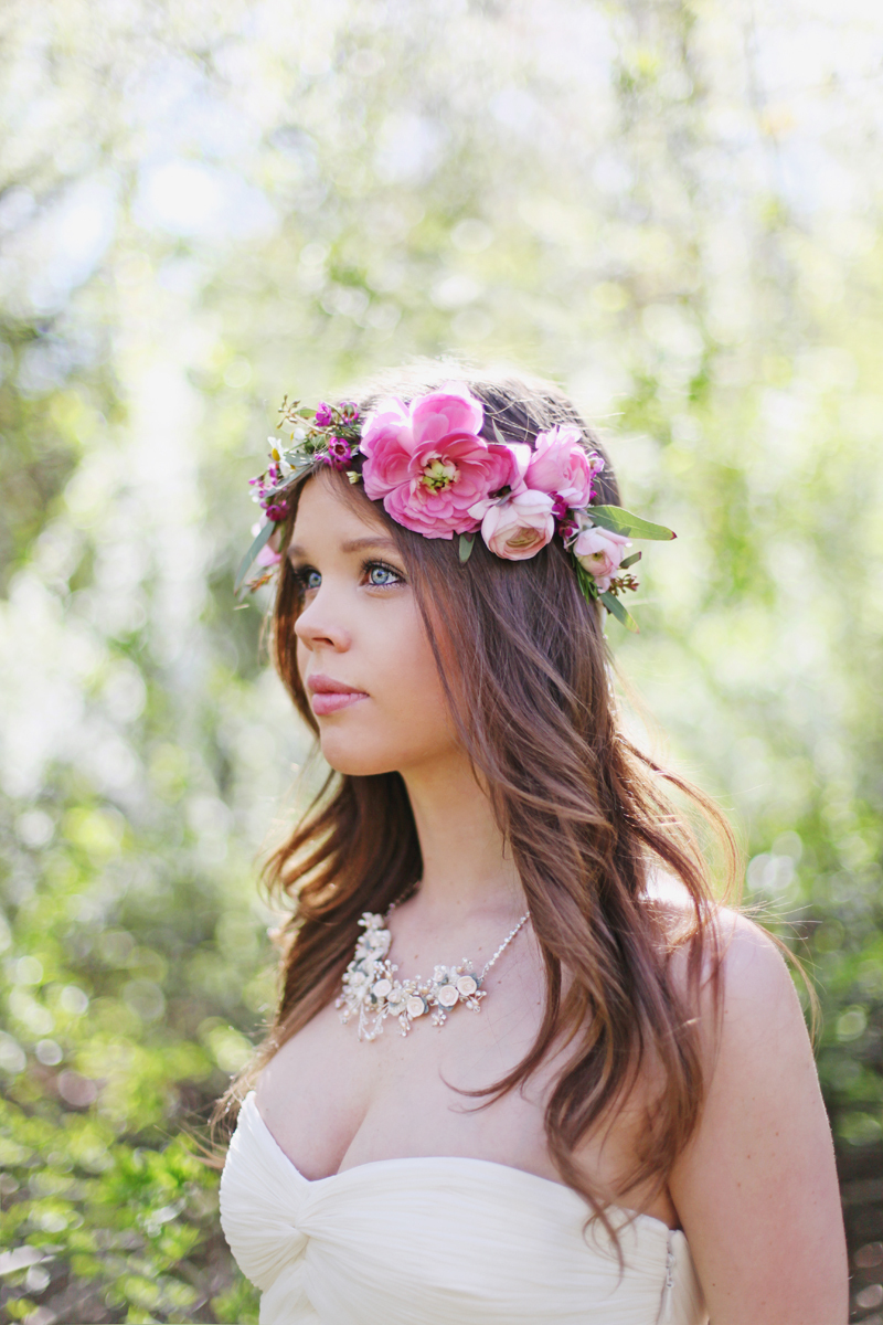 A bride with a floral wreath