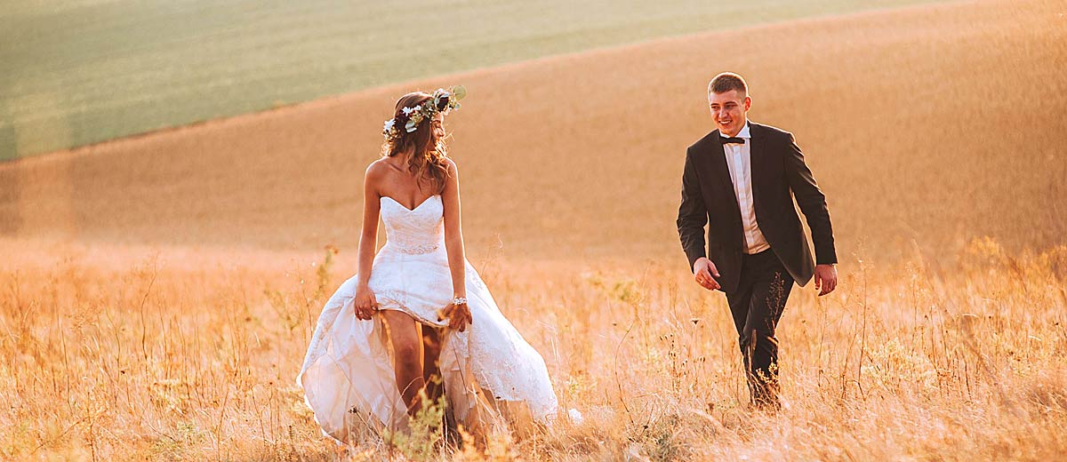 A country wedding gown