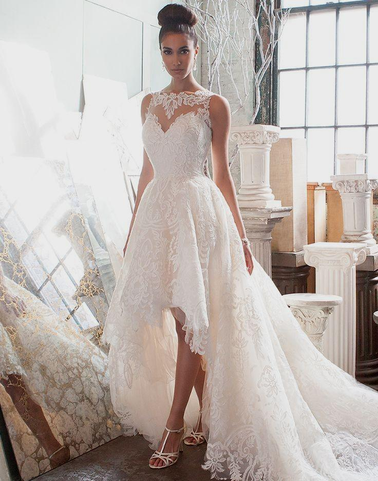 An elegant high low wedding dress