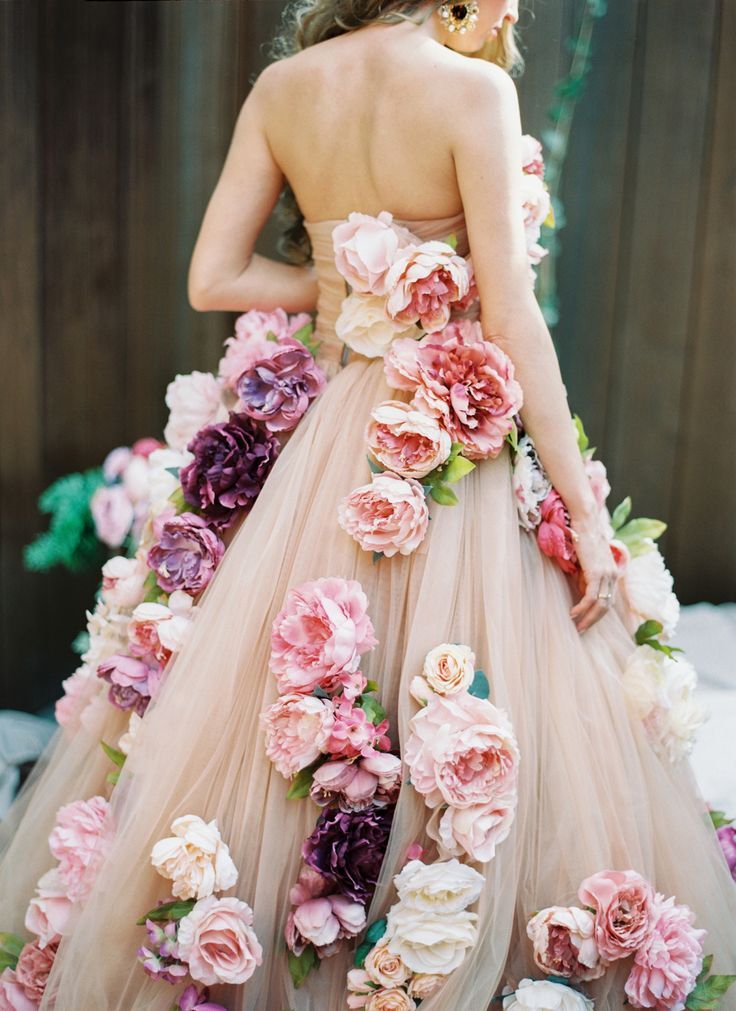 A floral wedding dress design