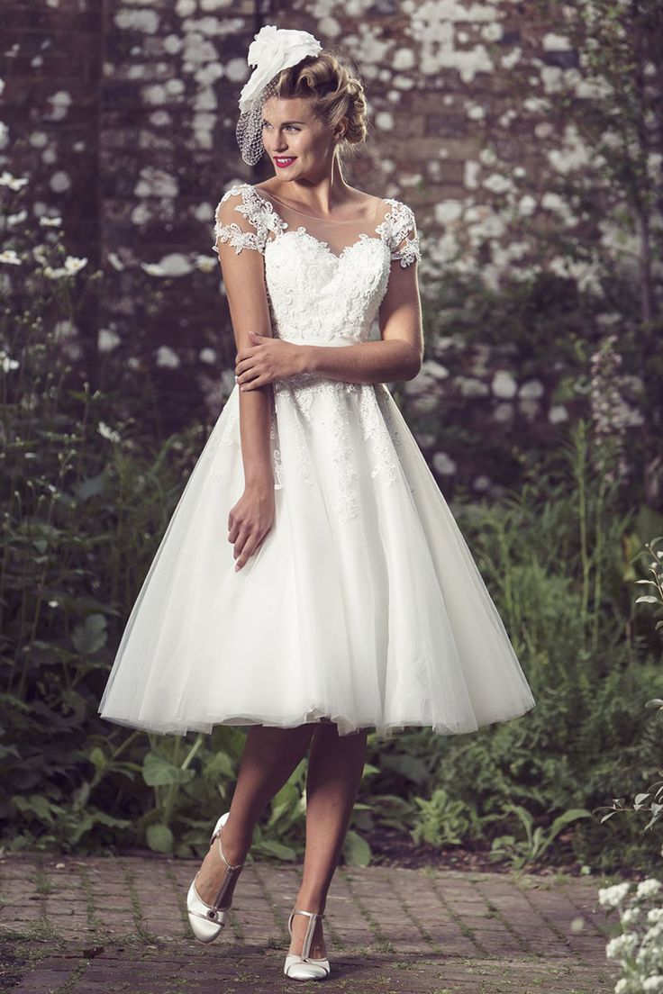 A knee length wedding dress