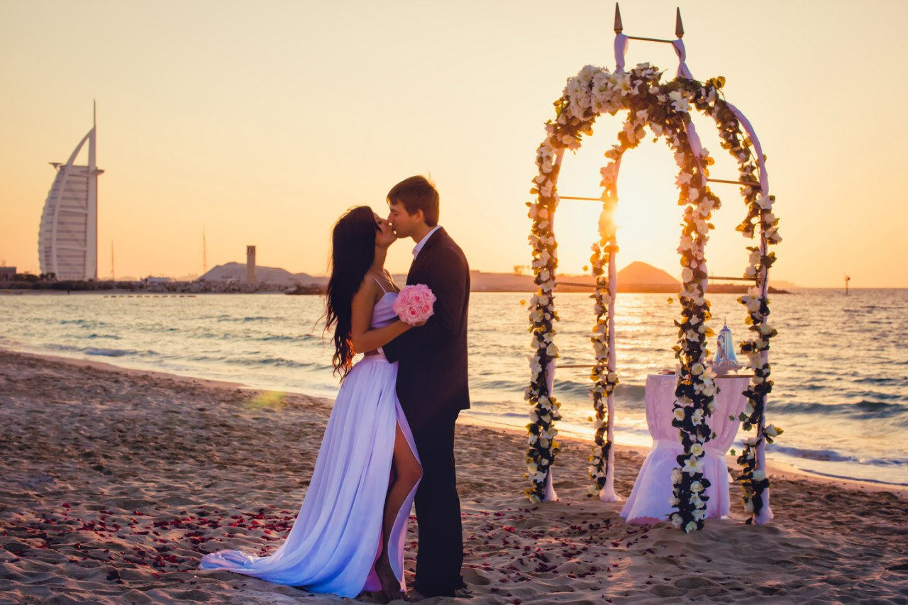 A romantic beach wedding