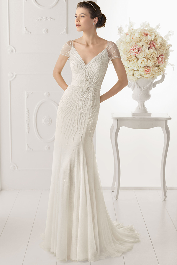 A sheath wedding dress
