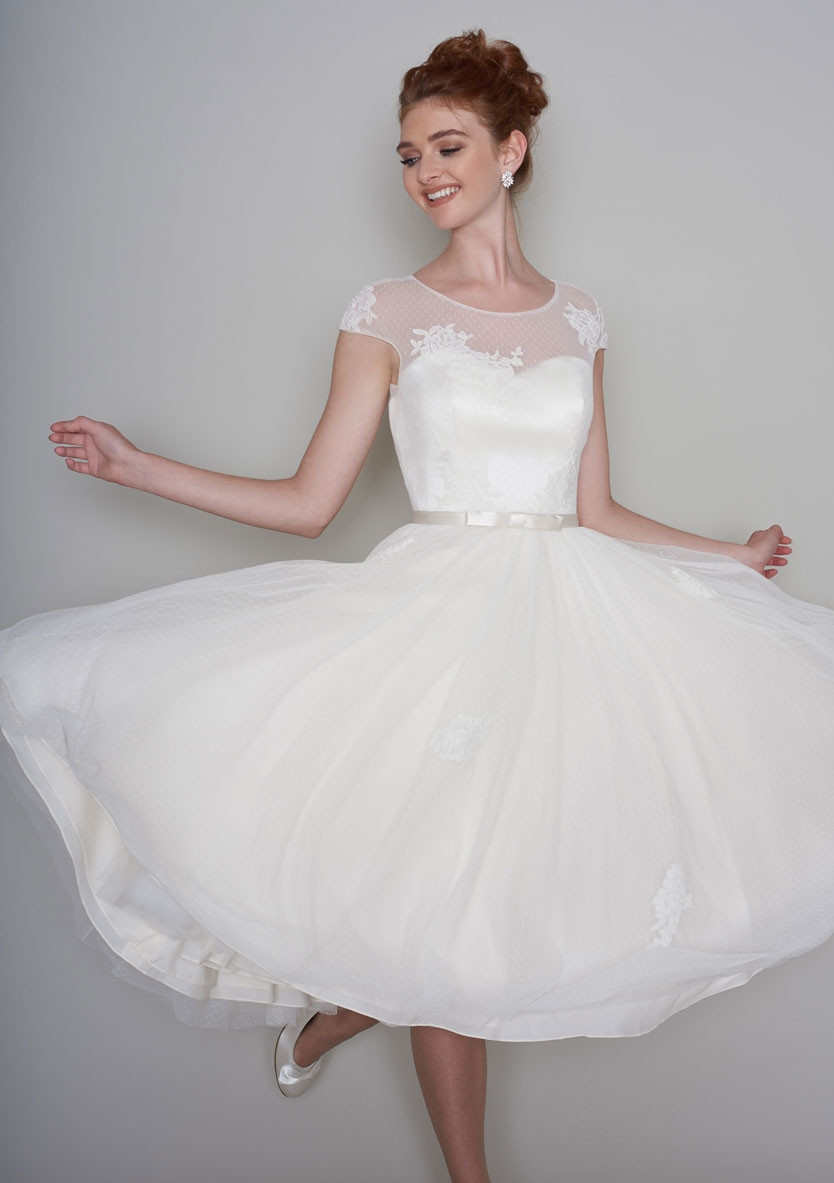 A tea length wedding dress