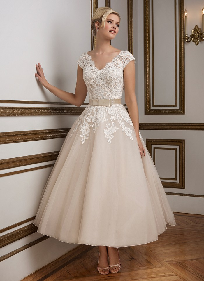 A tea length wedding gown