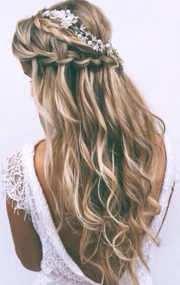 Waterfall braids for wedding hairstyle