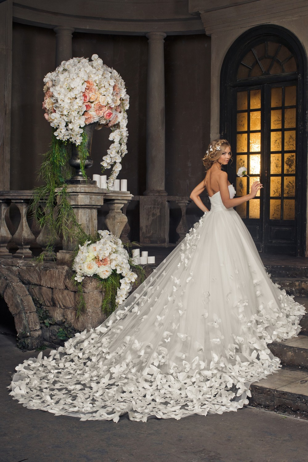 A wedding dress with gorgeous train