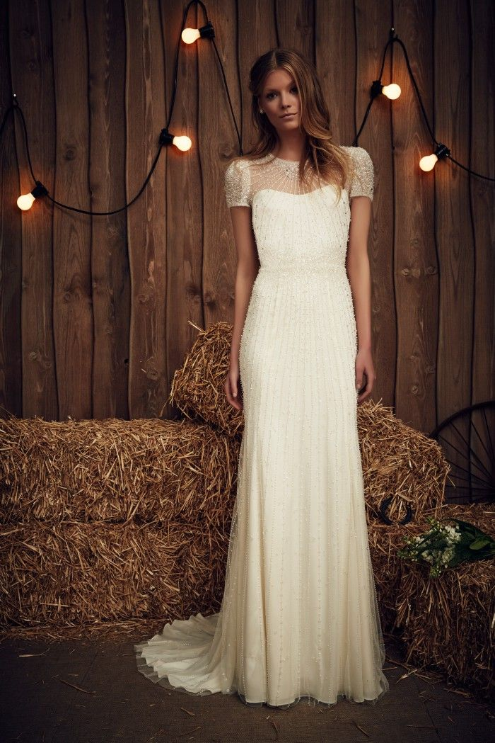 A wedding dress with short sleeves