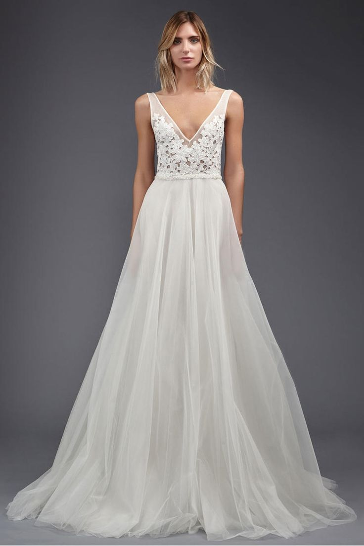 A wedding dress with V-neckline