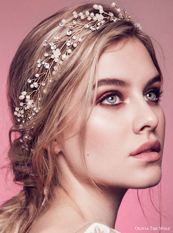 A wedding hairstyle with crystal accessories
