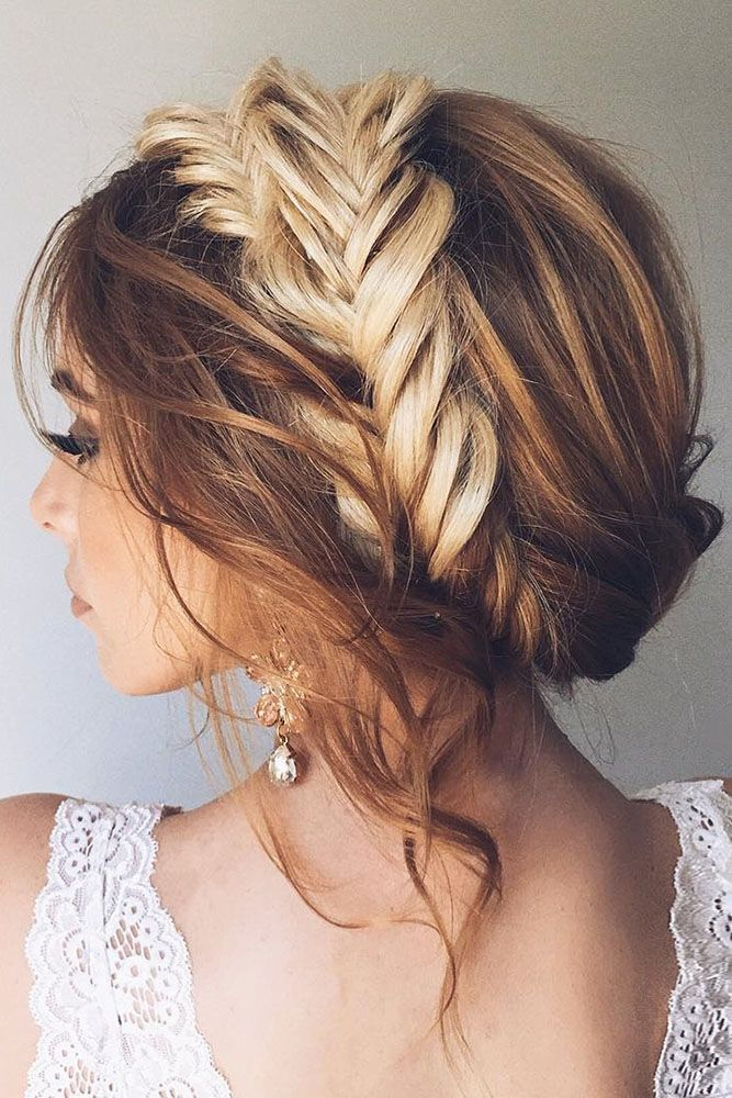 A wedding updo with braids