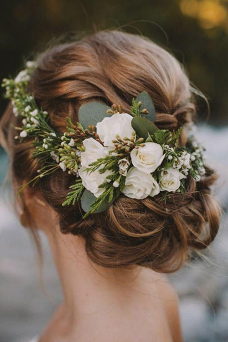 33 wedding hairstyles you will absolutely love the best wedding a wedding updo with flowers izmirmasajfo