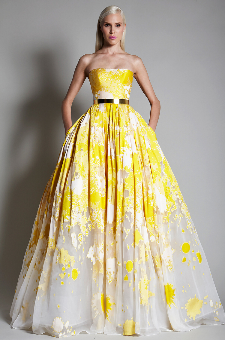 A yellow watercolor wedding dress