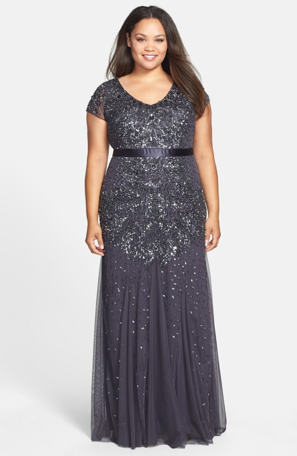 An Adrianna Papell beaded gown