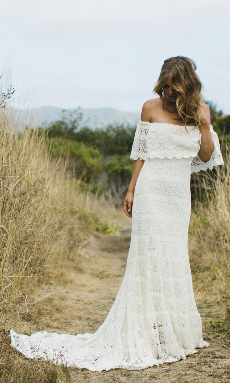An off-shoulder boho gown