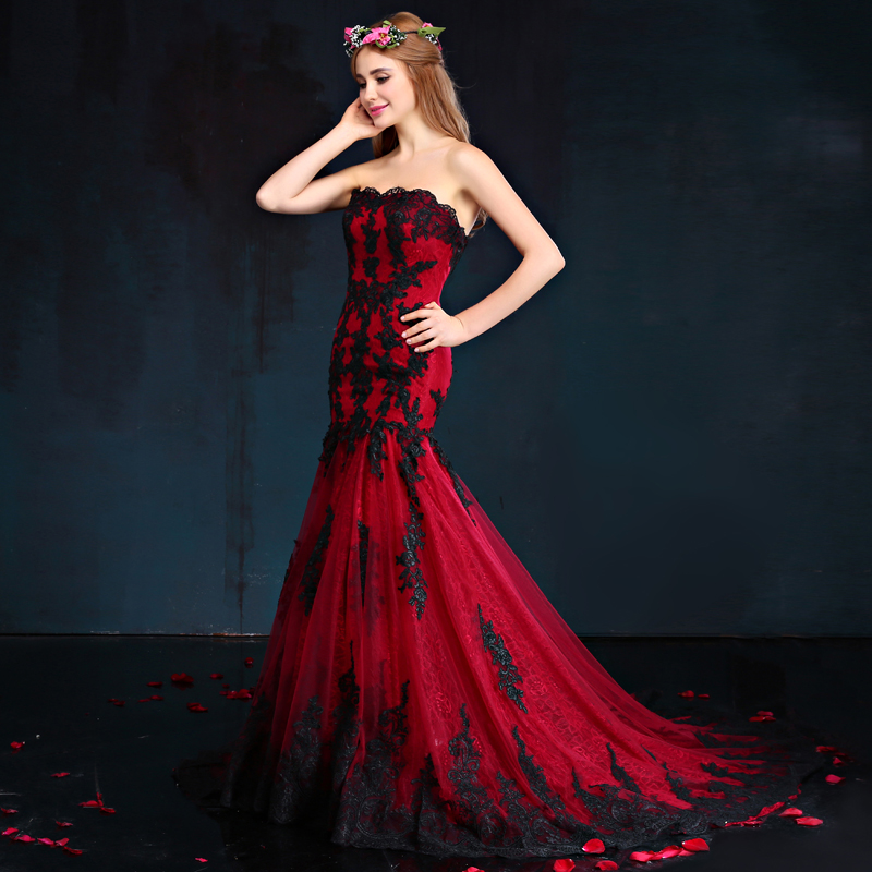 A red and black wedding dress
