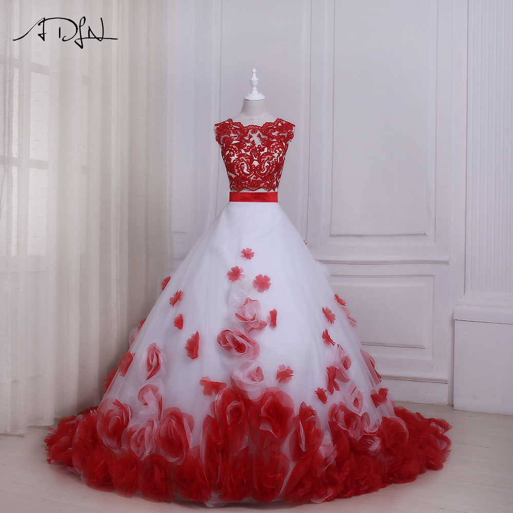 A Red And White Wedding Dress