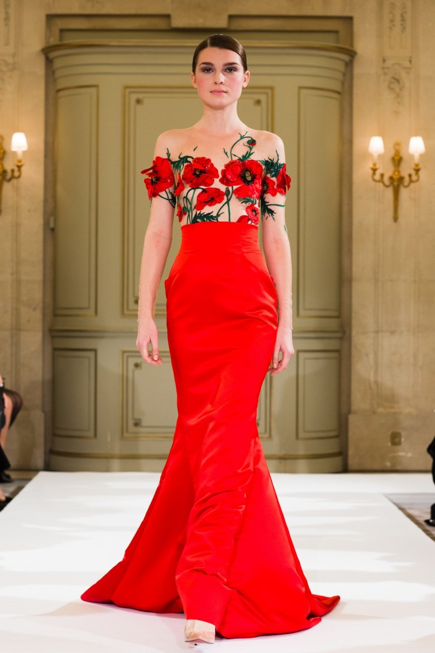 A red wedding dress with poppies
