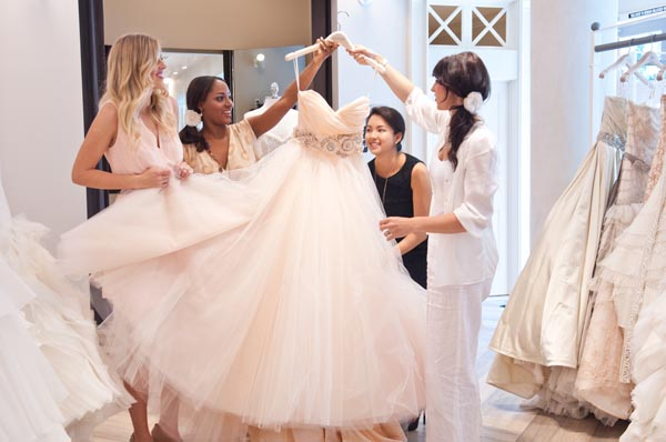 Shop for wedding dresses with friends
