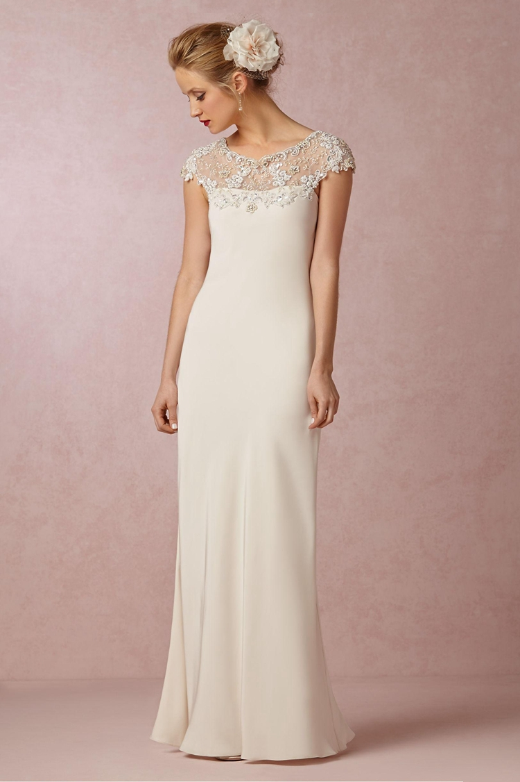 A Simple Elegant Sheath Wedding Dress
