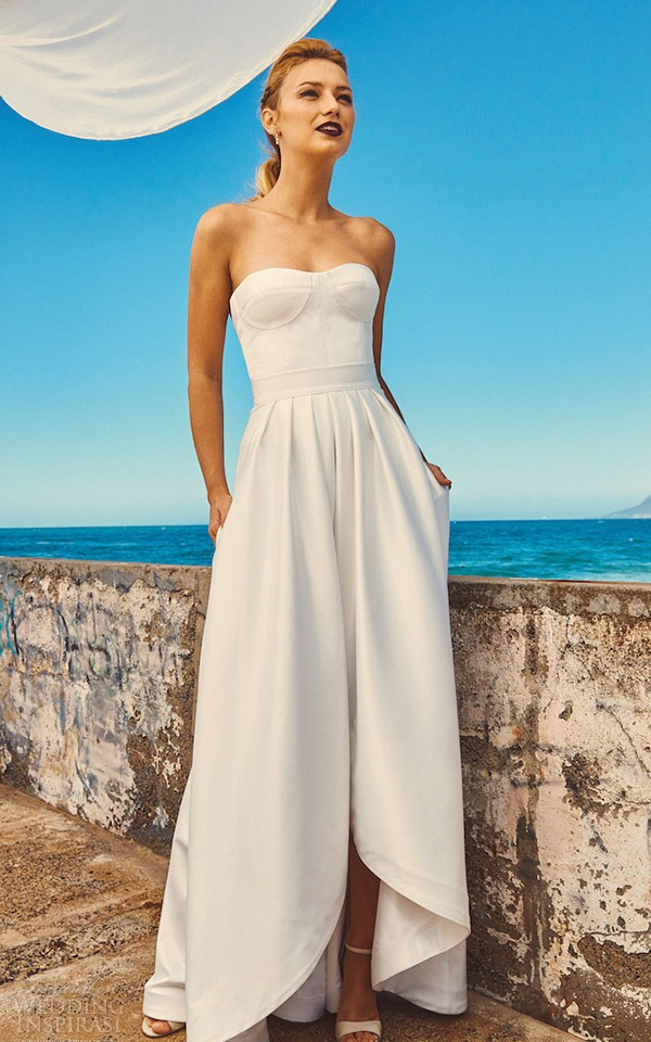 A strapless high low wedding dress