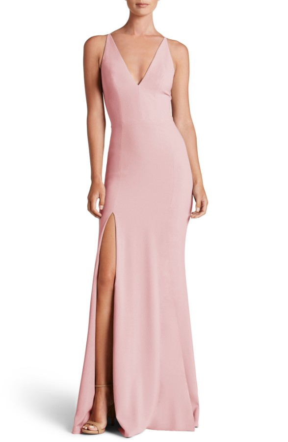 The Population Iris slit crepe gown