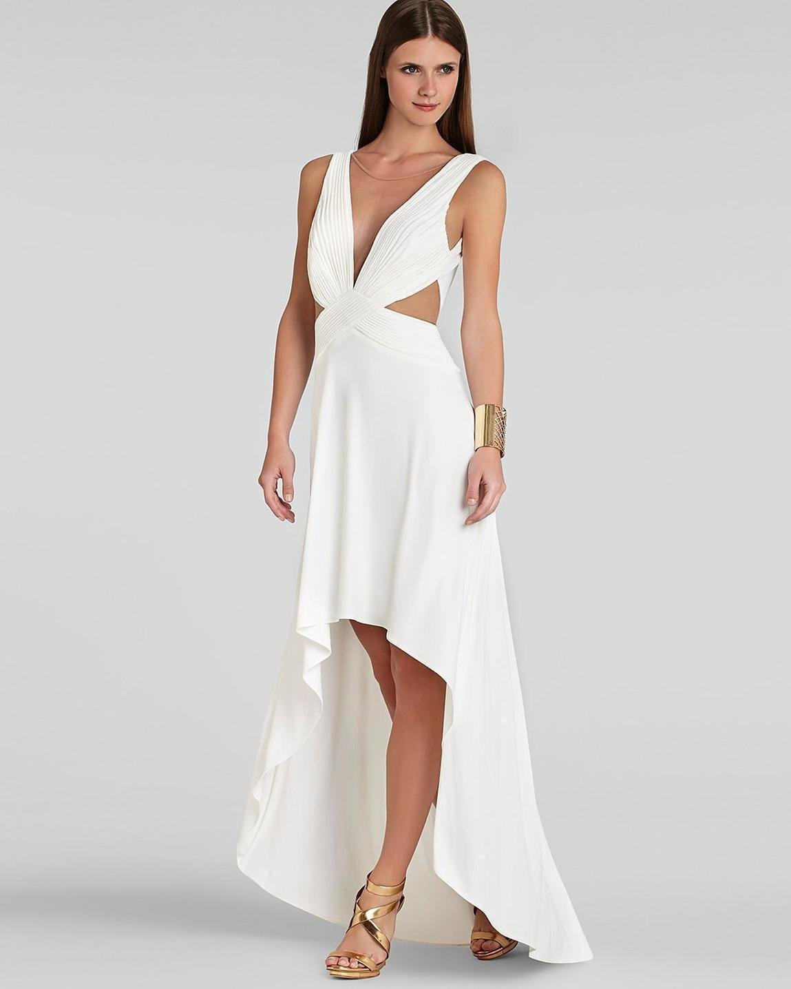 A V neckline high low dress