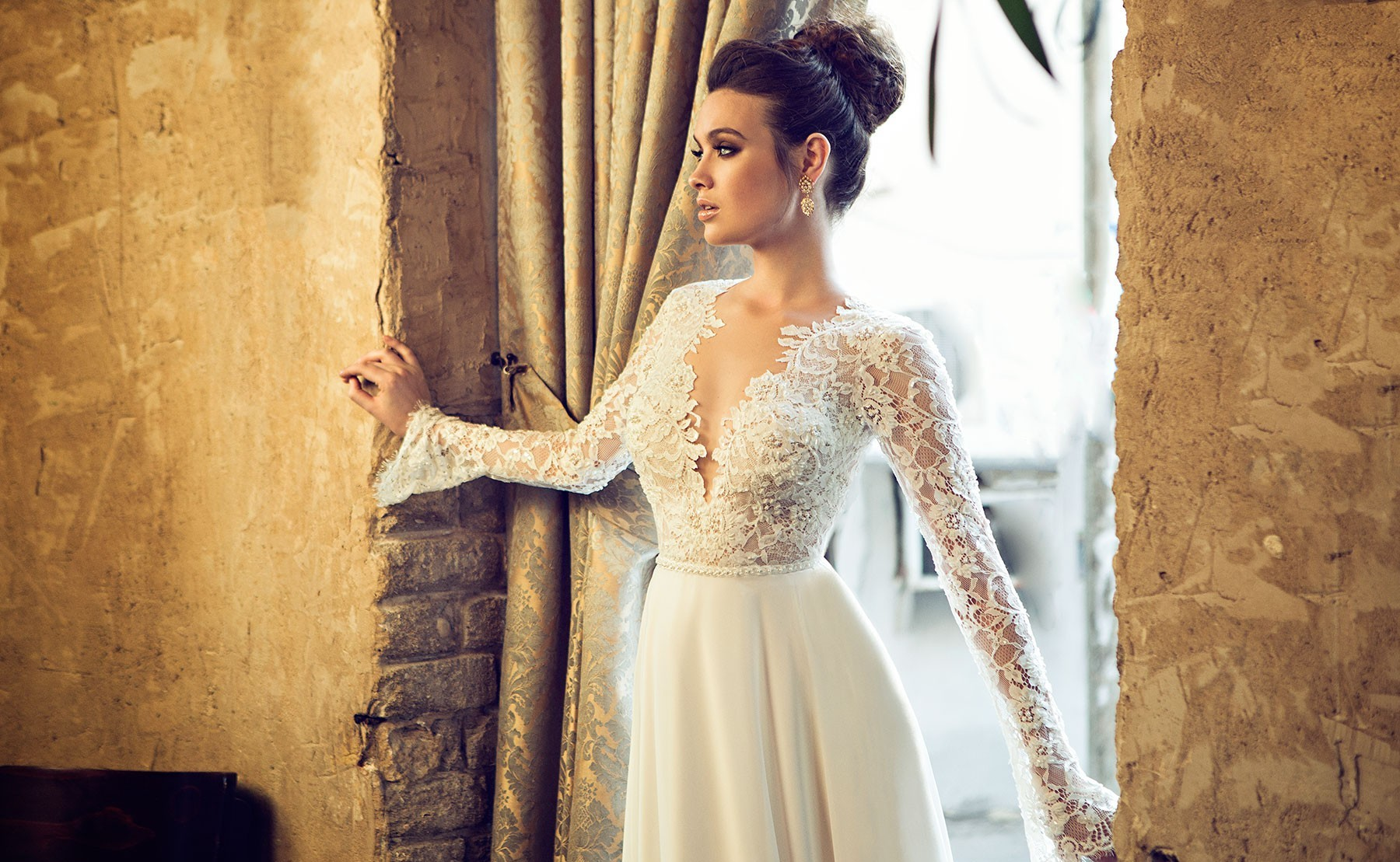 A wedding dress with long sleeves