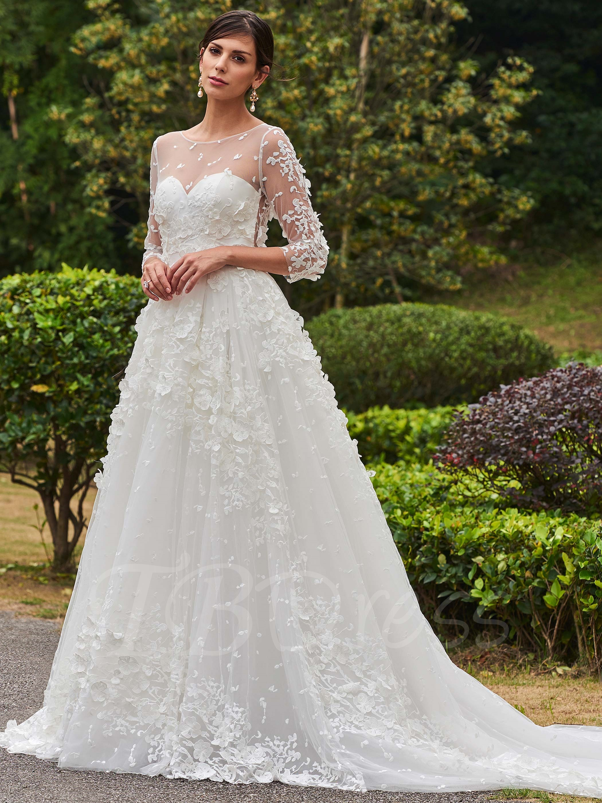 A-line wedding dress with long sleeves