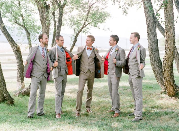 Groom's and groomsmen's outfits for vintage wedding