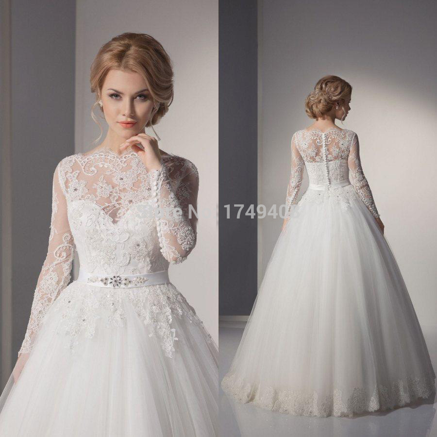 High neck princess wedding gown with lace