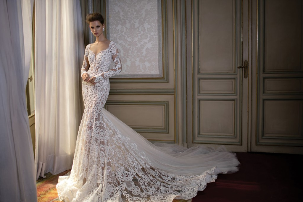 A lace wedding dress