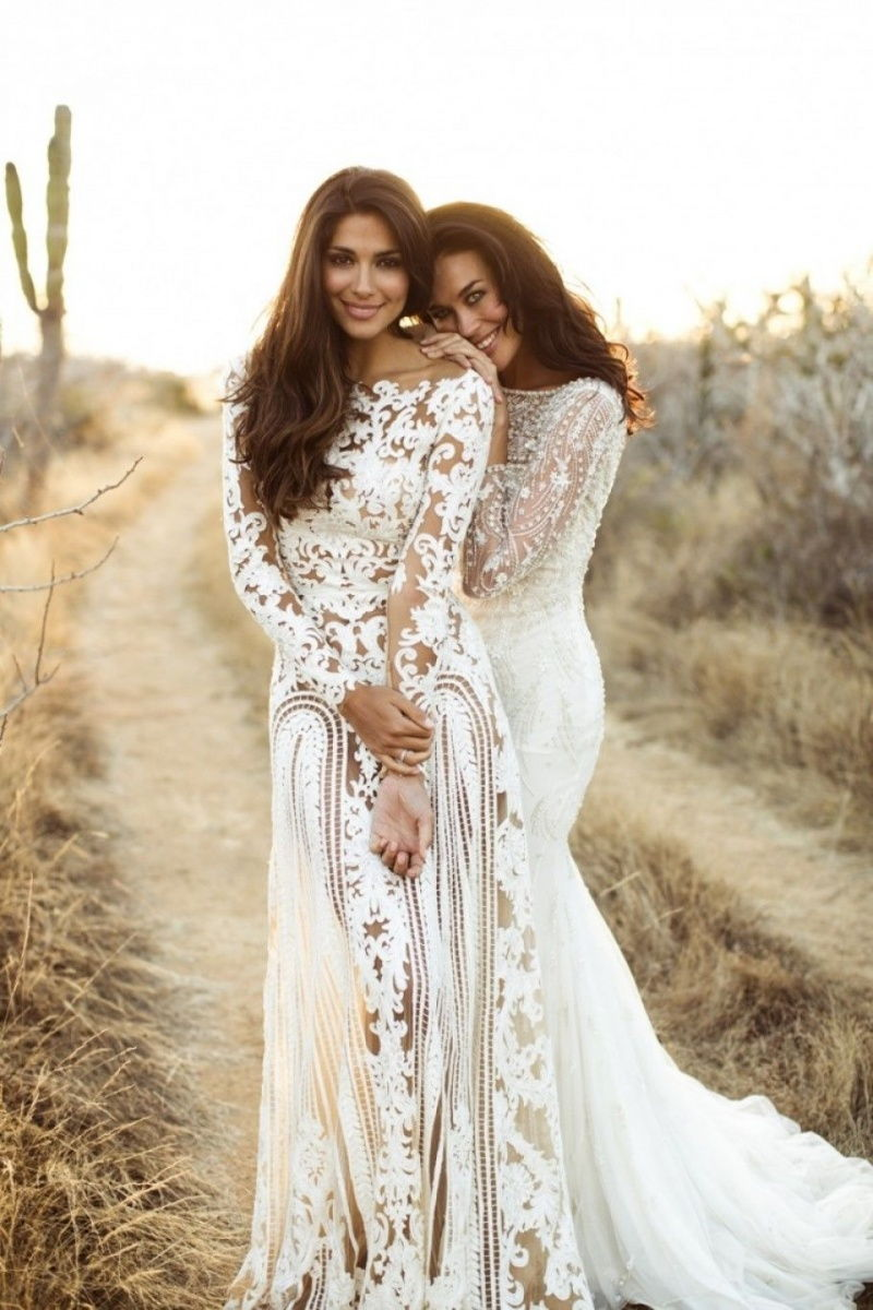 Long sleeved Bohemian wedding dresses