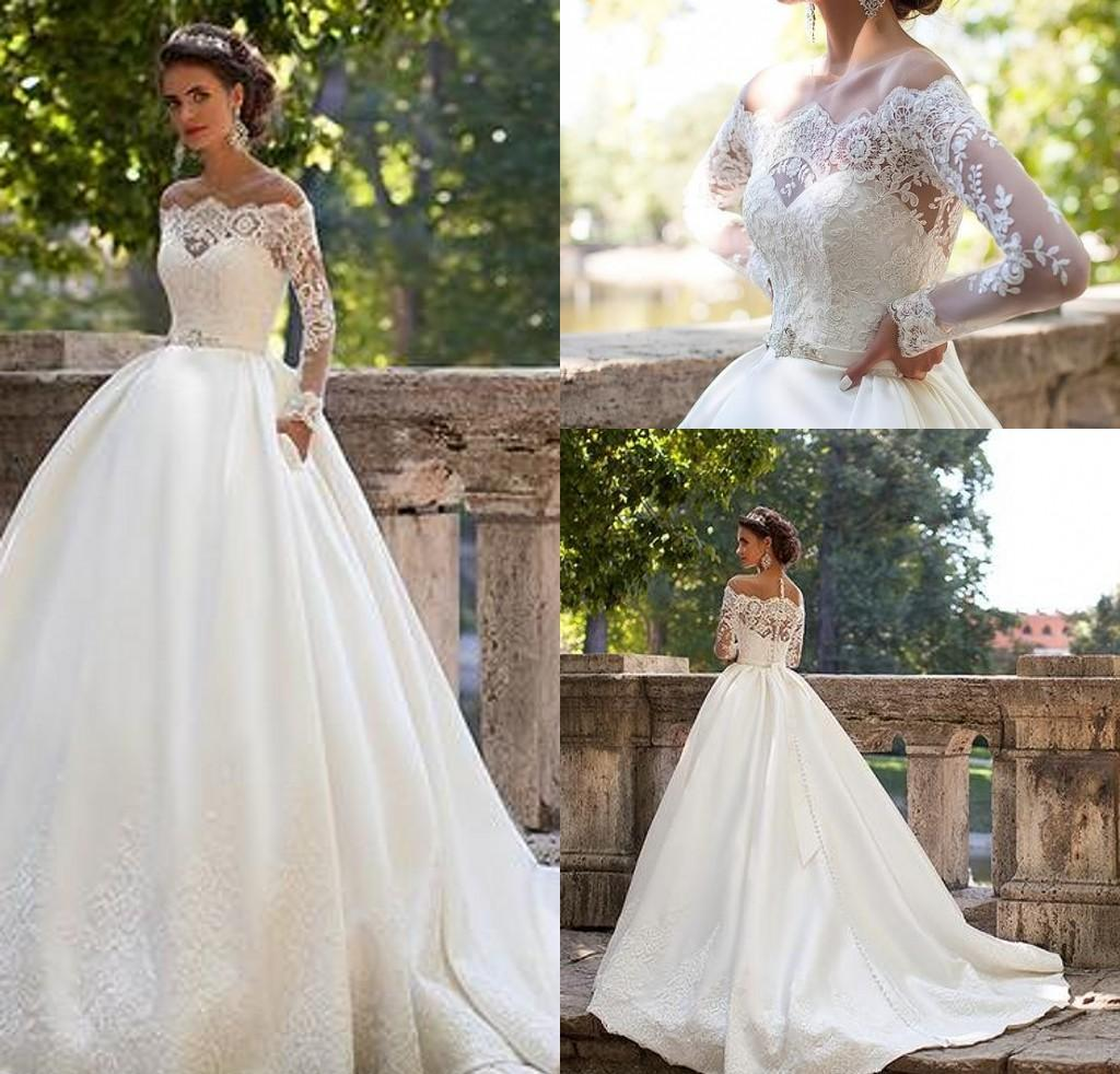 Off shoulder ball gown wedding dress