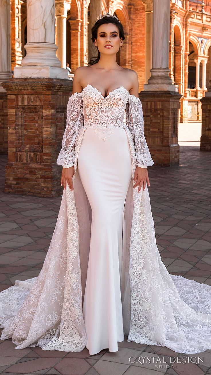 Off shoulder mermaid wedding gown by Crystal Design