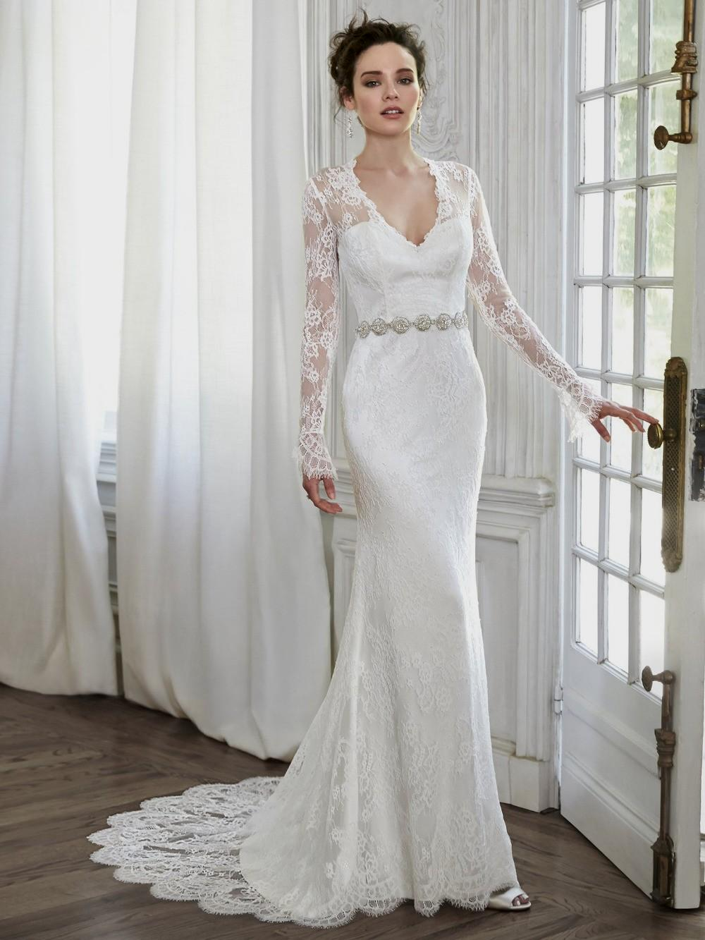 Sheath lace wedding dress with long sleeves